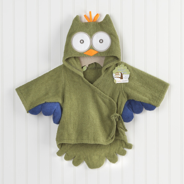 """My Little Night Owl"" Hooded Terry Spa Robe (Green) (Personalization Available)"