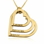24k Gold Plated 3-Heart Engraved Mother Necklace
