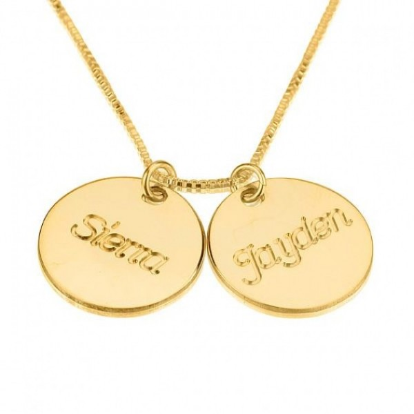 24K Gold Plated Two Circle Necklace with Names